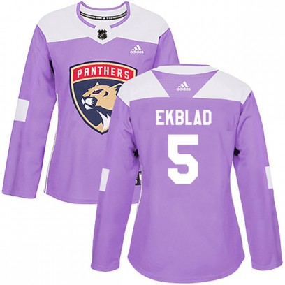 Women's Authentic Florida Panthers Aaron Ekblad Adidas Fights Cancer Practice Jersey - Purple