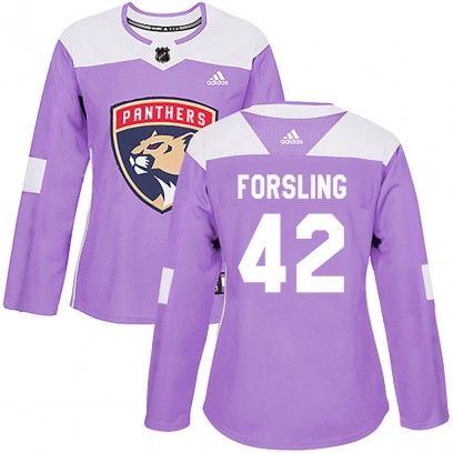 Women's Authentic Florida Panthers Gustav Forsling Adidas Fights Cancer Practice Jersey - Purple