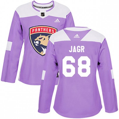 Women's Authentic Florida Panthers Jaromir Jagr Adidas Fights Cancer Practice Jersey - Purple