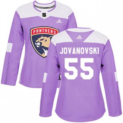 Women's Authentic Florida Panthers Ed Jovanovski Adidas Fights Cancer Practice Jersey - Purple