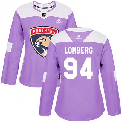 Women's Authentic Florida Panthers Ryan Lomberg Adidas Fights Cancer Practice Jersey - Purple