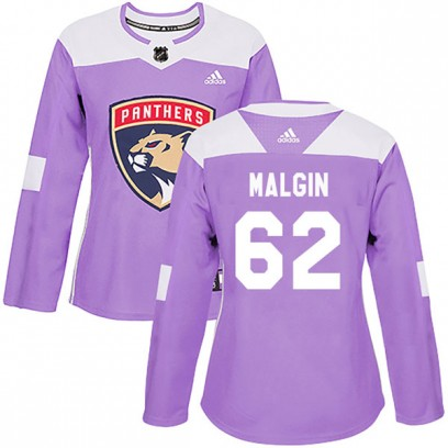 Women's Authentic Florida Panthers Denis Malgin Adidas Fights Cancer Practice Jersey - Purple