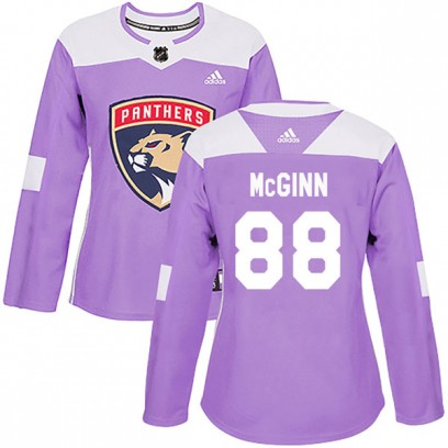 Women's Authentic Florida Panthers Jamie McGinn Adidas Fights Cancer Practice Jersey - Purple