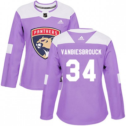 Women's Authentic Florida Panthers John Vanbiesbrouck Adidas Fights Cancer Practice Jersey - Purple