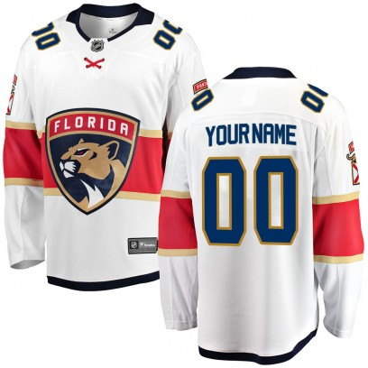 Men's Breakaway Florida Panthers Custom Fanatics Branded Away Jersey - White