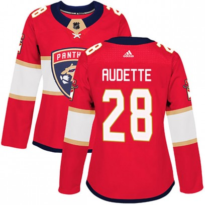 Women's Authentic Florida Panthers Donald Audette Adidas Home Jersey - Red