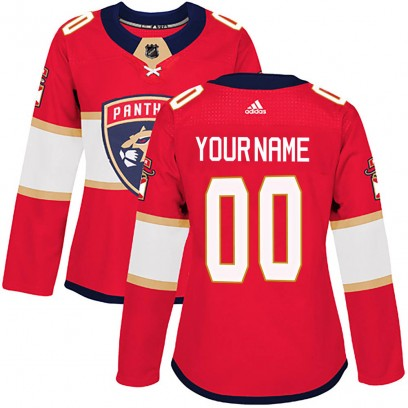 Women's Authentic Florida Panthers Custom Adidas Home Jersey - Red