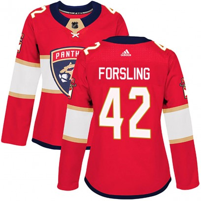 Women's Authentic Florida Panthers Gustav Forsling Adidas Home Jersey - Red