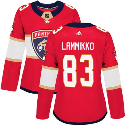 Women's Authentic Florida Panthers Juho Lammikko Adidas Home Jersey - Red