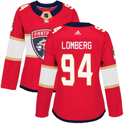 Women's Authentic Florida Panthers Ryan Lomberg Adidas Home Jersey - Red