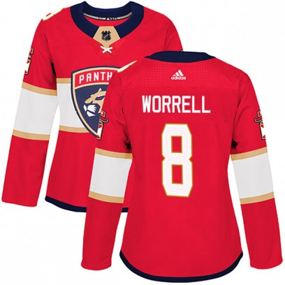Women's Authentic Florida Panthers Peter Worrell Adidas Home Jersey - Red