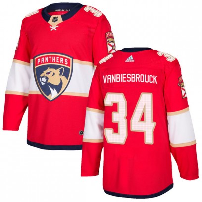 Men's Authentic Florida Panthers John Vanbiesbrouck Adidas Home Jersey - Red