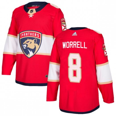 Men's Authentic Florida Panthers Peter Worrell Adidas Home Jersey - Red
