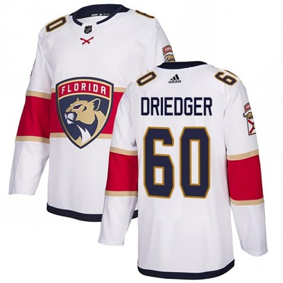 Men's Authentic Florida Panthers Chris Driedger Adidas Away Jersey - White