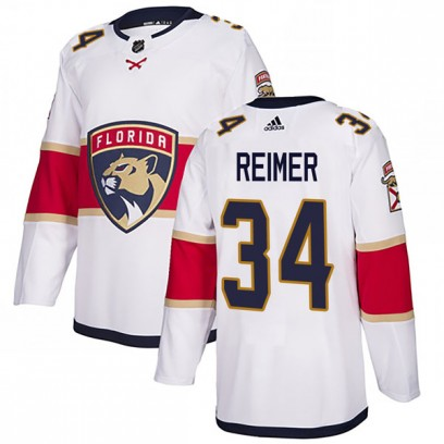 Men's Authentic Florida Panthers James Reimer Adidas Away Jersey - White