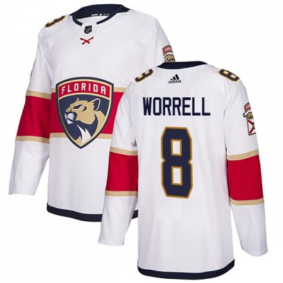 Men's Authentic Florida Panthers Peter Worrell Adidas Away Jersey - White