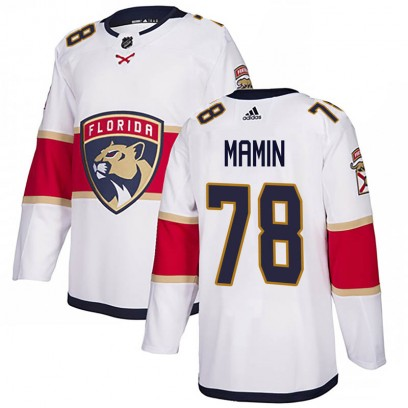 Youth Authentic Florida Panthers Maxim Mamin Adidas Away Jersey - White