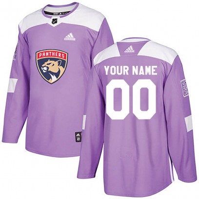 Men's Authentic Florida Panthers Custom Adidas Fights Cancer Practice Jersey - Purple