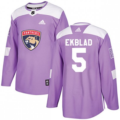 Men's Authentic Florida Panthers Aaron Ekblad Adidas Fights Cancer Practice Jersey - Purple