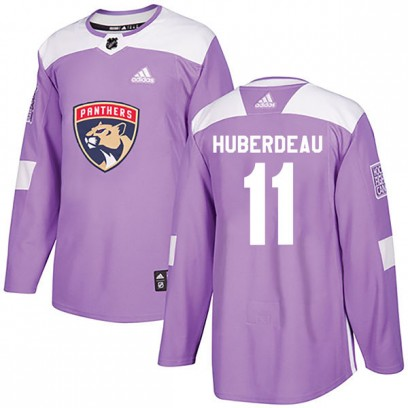 Men's Authentic Florida Panthers Jonathan Huberdeau Adidas Fights Cancer Practice Jersey - Purple