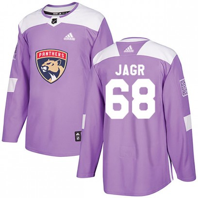 Men's Authentic Florida Panthers Jaromir Jagr Adidas Fights Cancer Practice Jersey - Purple