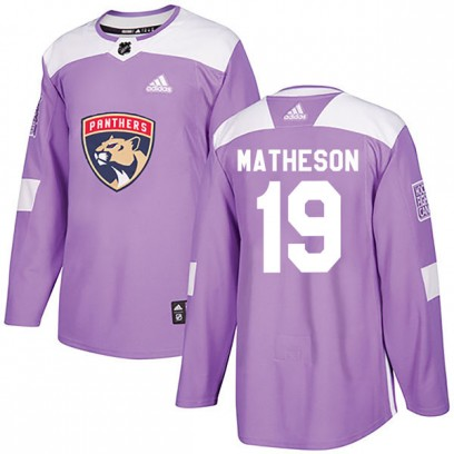 Men's Authentic Florida Panthers Michael Matheson Adidas Fights Cancer Practice Jersey - Purple