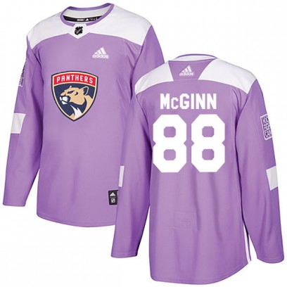 Men's Authentic Florida Panthers Jamie McGinn Adidas Fights Cancer Practice Jersey - Purple