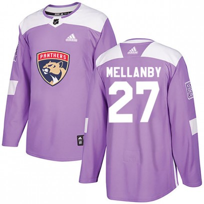 Men's Authentic Florida Panthers Scott Mellanby Adidas Fights Cancer Practice Jersey - Purple