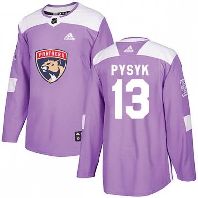 Men's Authentic Florida Panthers Mark Pysyk Adidas Fights Cancer Practice Jersey - Purple