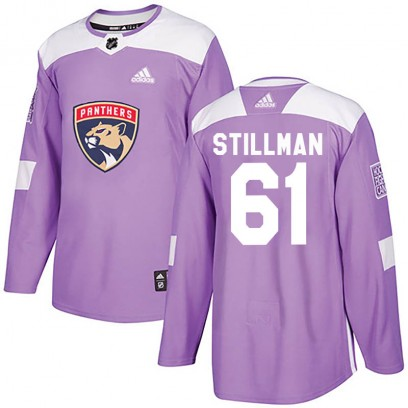 Men's Authentic Florida Panthers Riley Stillman Adidas Fights Cancer Practice Jersey - Purple