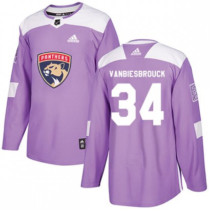 Men's Authentic Florida Panthers John Vanbiesbrouck Adidas Fights Cancer Practice Jersey - Purple
