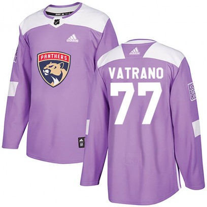 Men's Authentic Florida Panthers Frank Vatrano Adidas Fights Cancer Practice Jersey - Purple