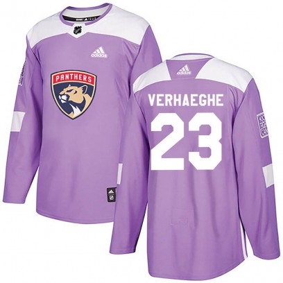 Men's Authentic Florida Panthers Carter Verhaeghe Adidas Fights Cancer Practice Jersey - Purple