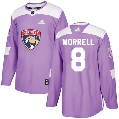 Men's Authentic Florida Panthers Peter Worrell Adidas Fights Cancer Practice Jersey - Purple