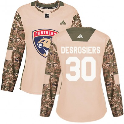 Women's Authentic Florida Panthers Philippe Desrosiers Adidas ized Veterans Day Practice Jersey - Camo