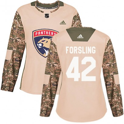 Women's Authentic Florida Panthers Gustav Forsling Adidas Veterans Day Practice Jersey - Camo
