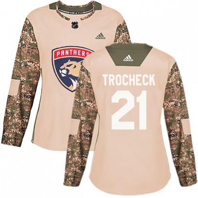 Women's Authentic Florida Panthers Vincent Trocheck Adidas Veterans Day Practice Jersey - Camo