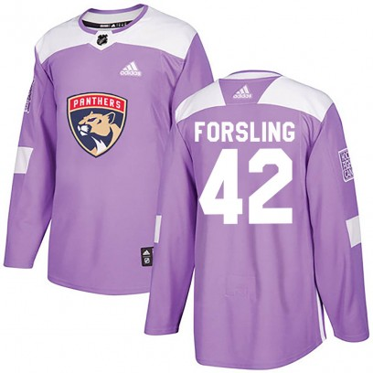 Youth Authentic Florida Panthers Gustav Forsling Adidas Fights Cancer Practice Jersey - Purple