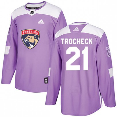Youth Authentic Florida Panthers Vincent Trocheck Adidas Fights Cancer Practice Jersey - Purple