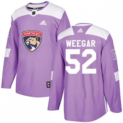 Youth Authentic Florida Panthers MacKenzie Weegar Adidas Fights Cancer Practice Jersey - Purple