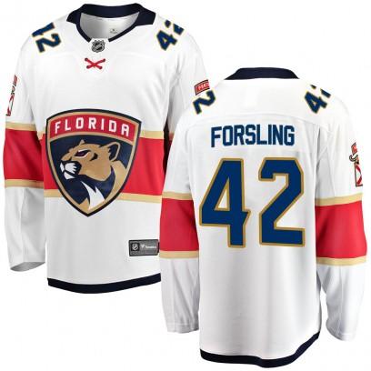 Youth Breakaway Florida Panthers Gustav Forsling Fanatics Branded Away Jersey - White