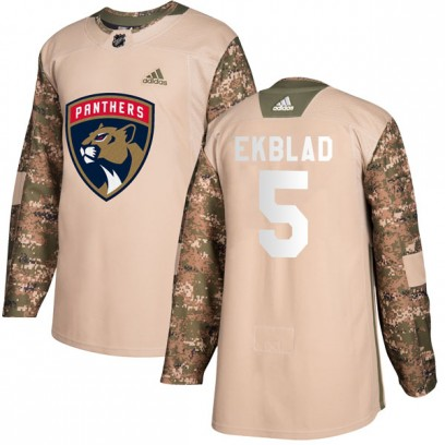 Youth Authentic Florida Panthers Aaron Ekblad Adidas Veterans Day Practice Jersey - Camo