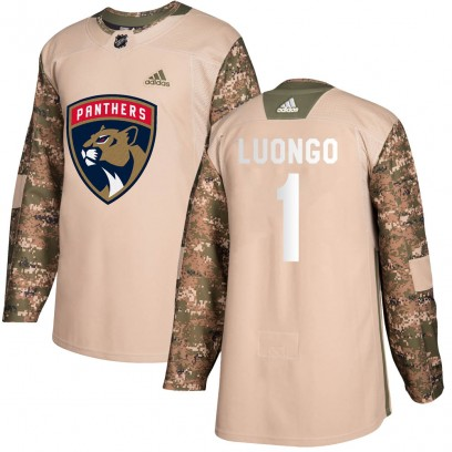 Youth Authentic Florida Panthers Roberto Luongo Adidas Veterans Day Practice Jersey - Camo