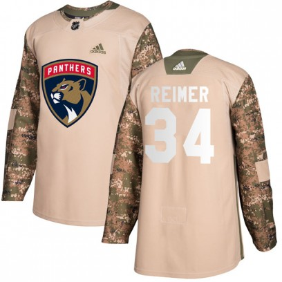 Youth Authentic Florida Panthers James Reimer Adidas Veterans Day Practice Jersey - Camo