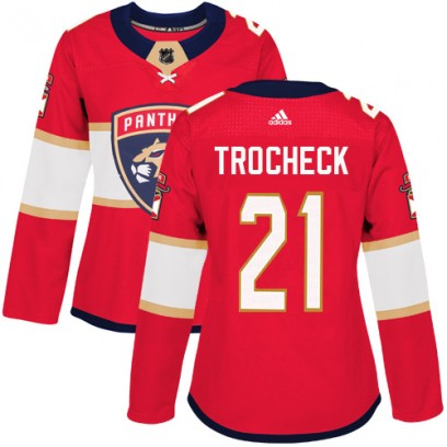Women's Authentic Florida Panthers Vincent Trocheck Adidas Home Jersey - Red