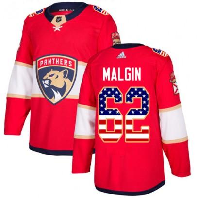 Men's Authentic Florida Panthers Denis Malgin Adidas USA Flag Fashion Jersey - Red