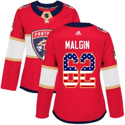 Women's Authentic Florida Panthers Denis Malgin Adidas USA Flag Fashion Jersey - Red