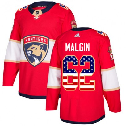 Youth Authentic Florida Panthers Denis Malgin Adidas USA Flag Fashion Jersey - Red