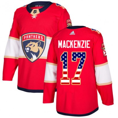 Men's Authentic Florida Panthers Derek Mackenzie Adidas Derek MacKenzie USA Flag Fashion Jersey - Red