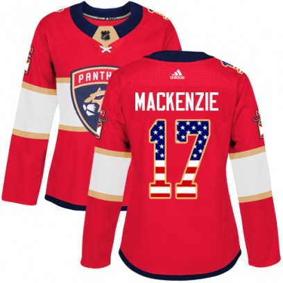 Women's Authentic Florida Panthers Derek Mackenzie Adidas Derek MacKenzie USA Flag Fashion Jersey - Red